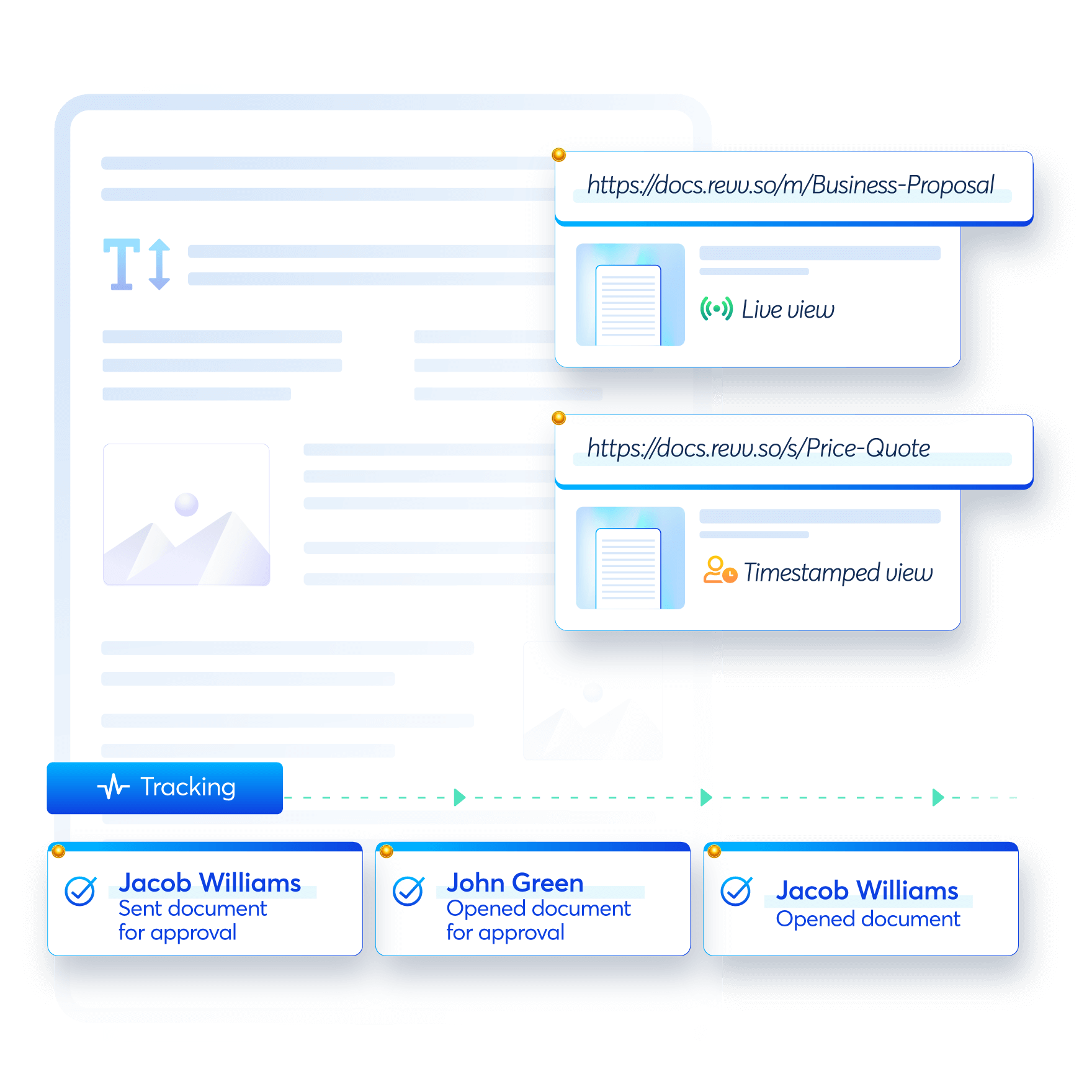 Revv allows collaboration with other users. Sign a file with signature images, by clicking/drawing signature, or with name initials.