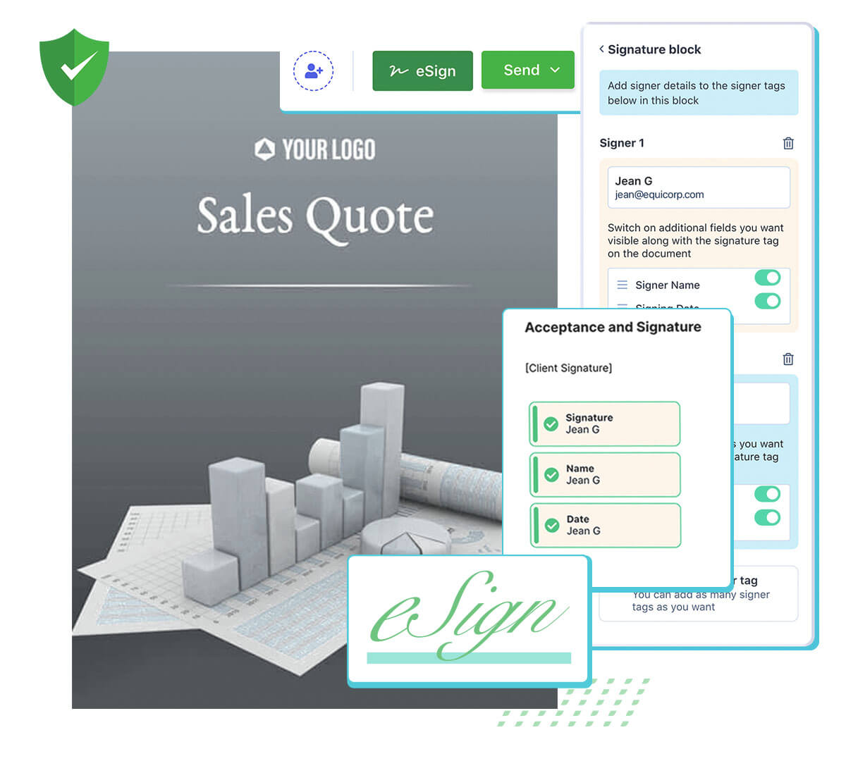 Use Revv's esignature to sign documents online, and also invite others to esign.