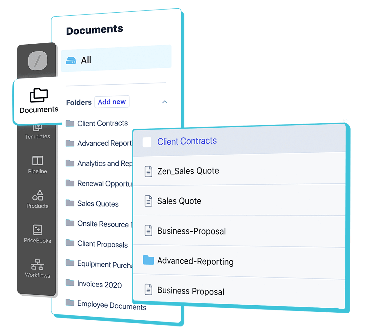 Store and organize your business documents for quick access in Folders in Revv, your next gen document builder.