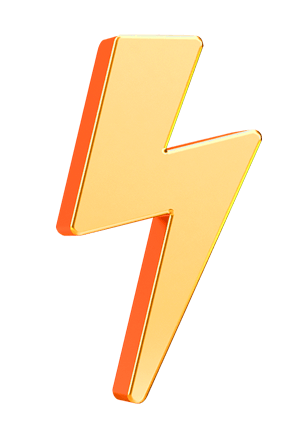 A gold lightening icon used in the Revv website.