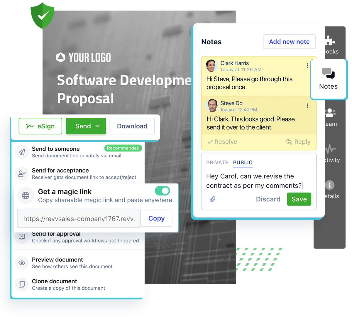 Collaborate with your stakeholders with Revv's notes and @mentions and workflows, your no-code document builder.